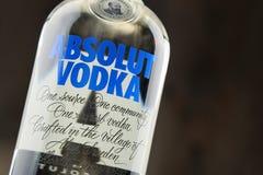 Flaska av Absolut vodka Arkivbild