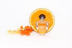 Flaska av aromatisk extrakt och den nya apelsinen Fotografering för Bildbyråer