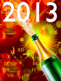 Flaska av champagne och klockan royaltyfri illustrationer