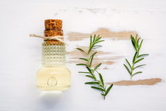 Flaska av extra jungfrulig olivolja med rosmarin Kvistar av rosemaen Royaltyfri Foto