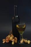 Flaska av grupper för vitt vin och druva Fotografering för Bildbyråer
