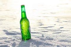 Flaska av kallt öl på snön fotografering för bildbyråer