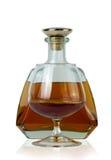 Flaska av konjak och ett exponeringsglas Royaltyfri Fotografi