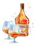 Flaska av konjak och exponeringsglas royaltyfri illustrationer