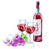 Flaska av rött vin, exponeringsglas och druvor royaltyfri illustrationer