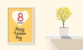 flaska av vatten Lycklig mars 8th för dag för kvinna` s tolkning 3D av ett kontorsutrymme Moderiktig design greeting lyckligt nyt arkivbilder
