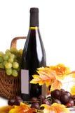 Flaska av vin med druvor i korg Royaltyfria Foton