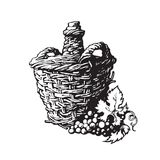 Flaska av vin med gruppen av druvor royaltyfri illustrationer