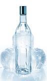 Flaska av vodka- och iskuber arkivbild