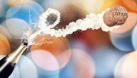 Flaska för helgdagsafton 2018 för ` s för nytt år med flygkork Fotografering för Bildbyråer