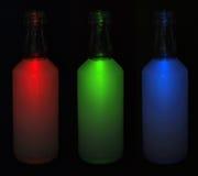 Flaska för tre rgb Royaltyfri Fotografi