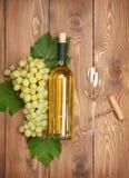 Flaska för vitt vin och grupp av druvor Royaltyfri Fotografi