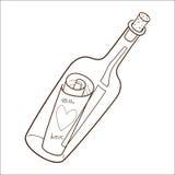 Flaska med det romantiska meddelandet. Arkivfoto