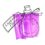 Flaska med lavendelextrakt Arkivbild