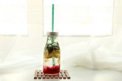 Flaska med mintkaramellen, citronen och den röda vinbäret arkivbild