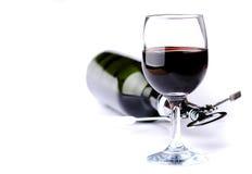 Flaska och exponeringsglas av wine Royaltyfri Foto