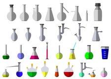 Flaska och provrör för kemisk agens Arkivbilder