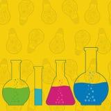 Flaskadryckeskärlar och provrör, kemisk laboratoriumutrustning på stock illustrationer