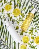 Flaskan av att ljusna uppiggningsmedel och flaskan av att ljusna skönhetsmedlet mjölkar Royaltyfria Bilder