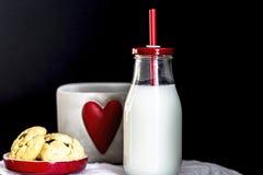 Flaskan av mjölkar och choklade kakor Royaltyfri Bild