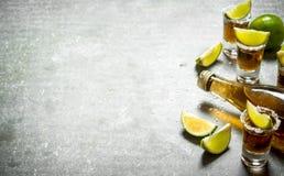 Flaskan av tequila med limefrukt och saltar royaltyfria bilder
