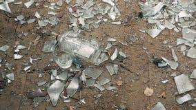 Flaskan av vodka faller till golvet med glas och brutet exponeringsglas stock video