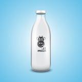 flaskan mjölkar Royaltyfria Bilder
