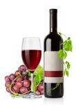 flaskdruvarött vin royaltyfria bilder