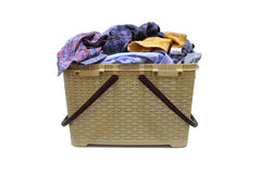 Flasket. Full of clothes on white background Stock Photo