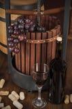 flaskexponeringsglas ställde in vit wine sju sex Royaltyfria Bilder