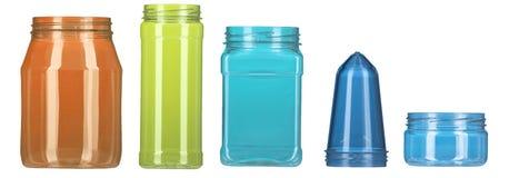 flaskfärg isolerade plast-seten Fotografering för Bildbyråer