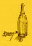flaskkorkskruvteckning royaltyfri illustrationer