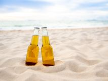 Flaskor av öl på stranden Parti kamratskap, ölbegrepp fotografering för bildbyråer