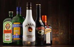 Flaskor av blandade globala likörmärken Fotografering för Bildbyråer