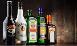 Flaskor av blandade globala likörmärken Royaltyfria Bilder
