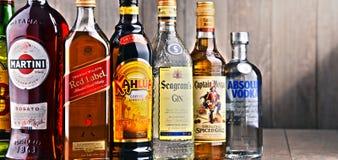 Flaskor av blandade globala starkspritmärken Arkivfoton