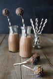 Flaskor av choklad mjölkar med kakapop Fotografering för Bildbyråer