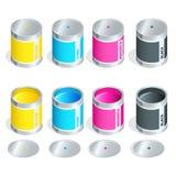 Flaskor av färgpulver i cmyk färgar på vit isolerad bakgrund Isometrisk illustration för plan vektor 3d vektor illustrationer