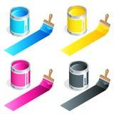 Flaskor av färgpulver i cmykfärger och målarfärgborsten på vit isolerade bakgrund Isometrisk illustration för plan vektor 3d royaltyfri illustrationer