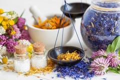 Flaskor av homeopatismå kulor, våg, krus och mortel royaltyfri foto