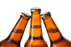 Flaskor av kallt öl Fotografering för Bildbyråer