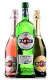 Flaskor av Martini, berömd italiensk vermut Royaltyfria Bilder