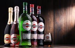 Flaskor av Martini, berömd italiensk vermut Royaltyfri Fotografi