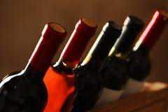 Flaskor av olika viner Dyr samling royaltyfri fotografi