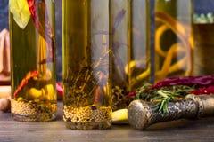 Flaskor av olivolja med olika kryddor och örter Arkivfoton