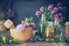 Flaskor av tinktur eller avkok av sunda örter royaltyfri fotografi