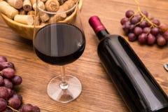 Flaskor av vin, exponeringsglas av vin, druvor och korkvin Royaltyfri Bild