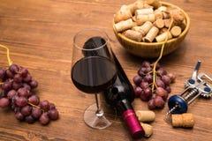 Flaskor av vin, exponeringsglas av vin, druvor och korkvin Fotografering för Bildbyråer