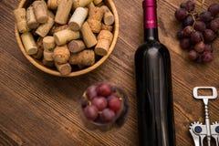 Flaskor av vin, exponeringsglas av vin, druvor och korkvin Arkivbild
