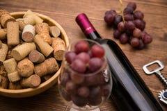 Flaskor av vin, exponeringsglas av vin, druvor och korkvin Royaltyfri Foto